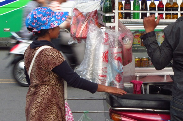 Drink vendors in Phnom Penh.