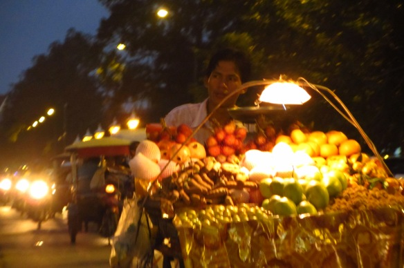A fruit vendor in Phnom Penh.