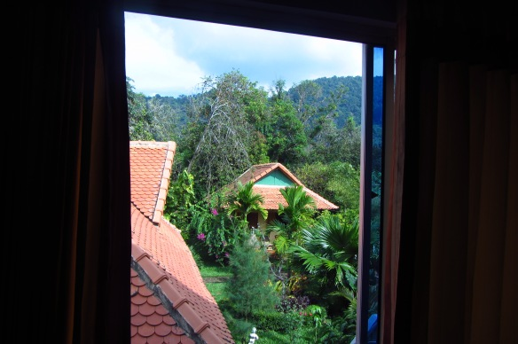 The view from our $20/night room at the Kimly Lodge in Kep Cambodia. We can highly recommend you stay here if you are ever in Kep.