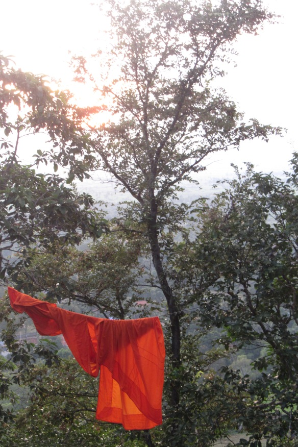 Monk's robe out to dry outside the temples on top of Battdung Mountain in Kampong Speu Province. Photo taken by Tina Ryder, my beautiful mother