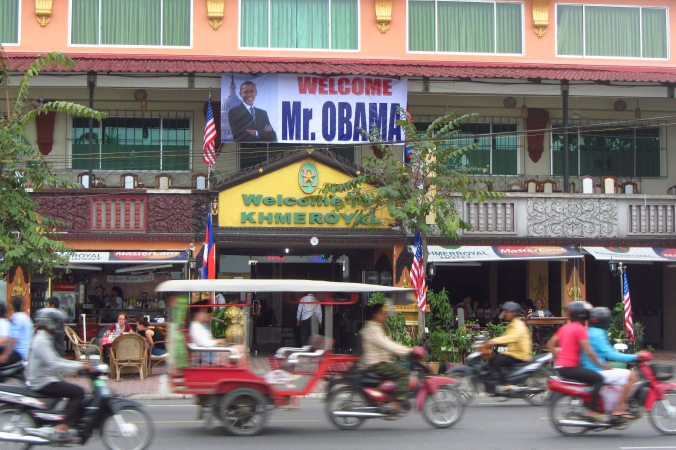President Obama came to Phnom Penh while we were there to discuss Democracy, corruption and Cambodia's future at the 2012 ASEAN conference.