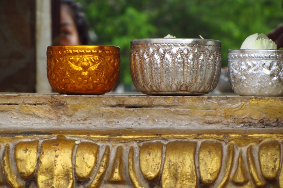 Beautiful bowls on a ledge at a temple in Phnom Penh.