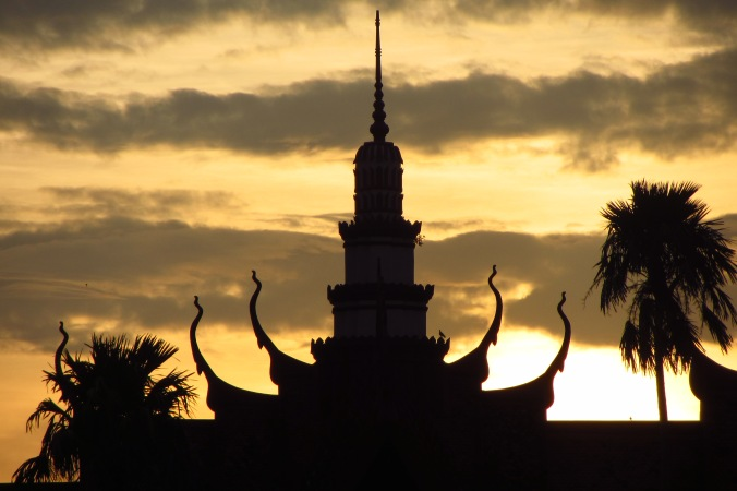 Sunset silhouette of the National Museum in Phnom Penh.