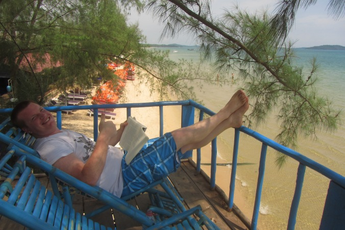 Reading up in the tree house at Everythang guest house on Otres Beach.