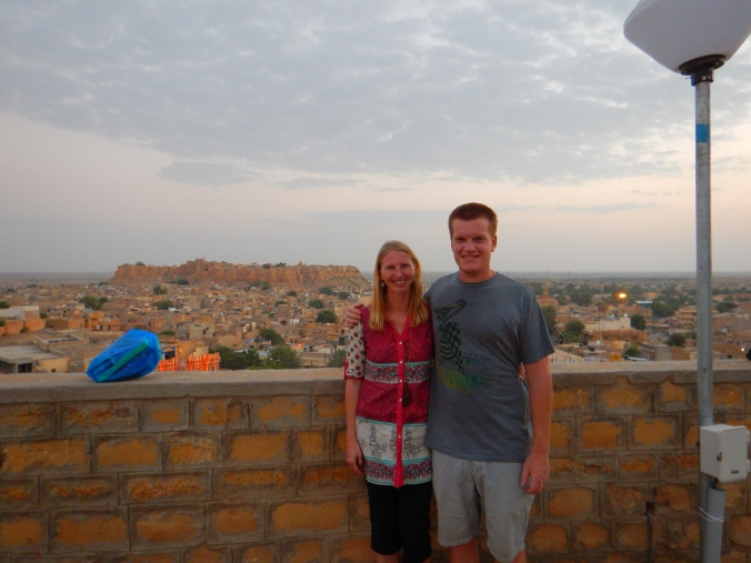 The Jaisalmer Fort rising out of the desert behind us.