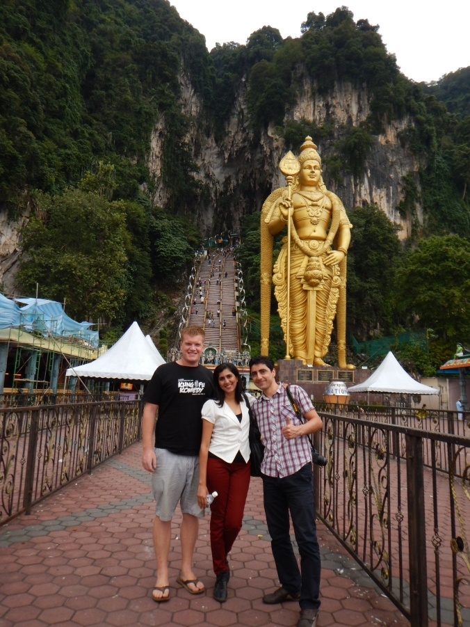 Stevo with Parveen and Medhi outside the Batu Caves.