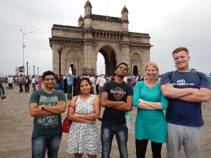 Mugging with our awesome hosts, Amol, Satya and Lipi in front of the historical Gateway of India in Mumbai.