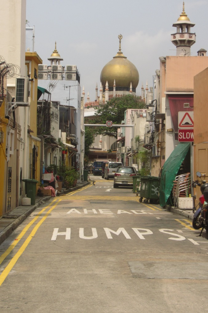 Humps ahead near a mosque in Singapore.